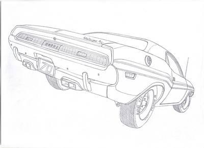 Challenger Drawing - 70'dodge Challenger Rt by Kaan Ipek