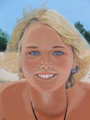 70's Girl On The Beach Art Print by Scott Kingery