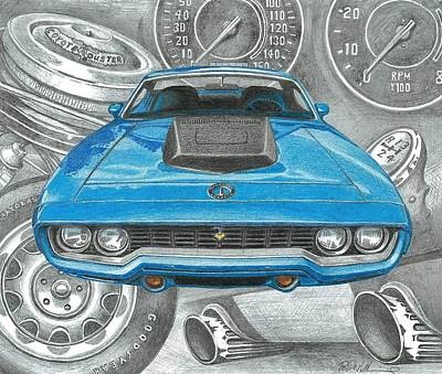 Satellite Drawing - '71 Road Runner by Robert VanNieuwenhuyze