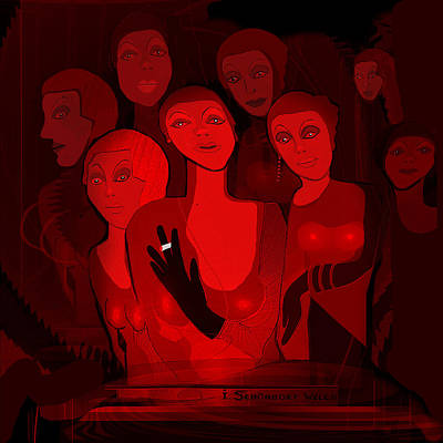Painting - 713 - Red Light Ladies  by Irmgard Schoendorf Welch
