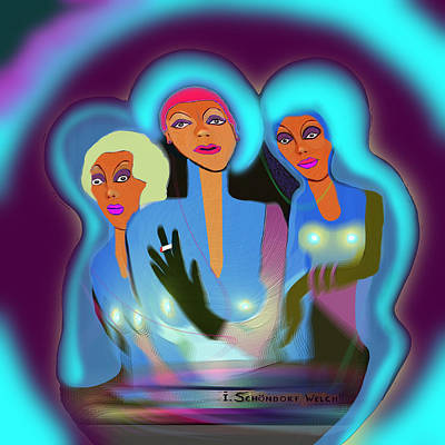 Painting - 715 - Three  Ladies   by Irmgard Schoendorf Welch