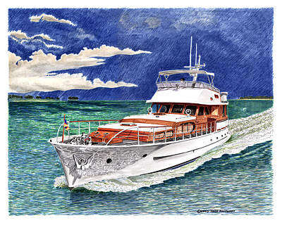 Painting - 72 Foot Fedship Yacht by Jack Pumphrey