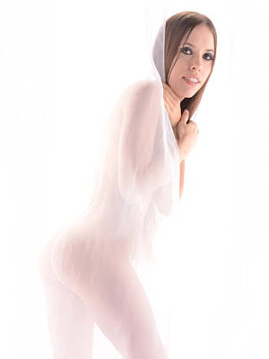 Photograph - 7203 Nude Avonelle Behind Sheer  by Chris Maher