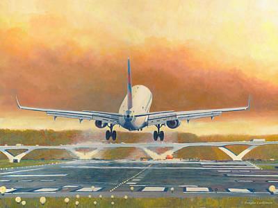 Painting - Embraer E175 Landing At Ronald Reagen Airport by Douglas Castleman