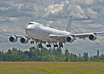 Art Print featuring the photograph 747 Landing by Jeff Cook