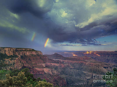 Photograph - 749220049 Double Rainbow Cape Royal North Rim Grand Canyon National Park by Dave Welling