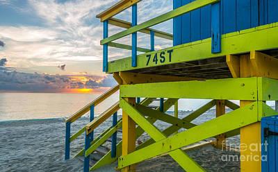Day Break Photograph - 74th Street Lifeguard Tower Sunrise - Miami Beach - Florida by Ian Monk