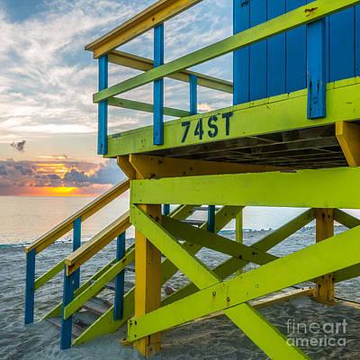 Photograph - 74th Street Lifeguard Tower Sunrise - Miami Beach - Florida - Square Crop by Ian Monk