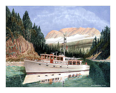 Most Popular Painting - 75 Foot Classic Bridgrdeck Yacht by Jack Pumphrey
