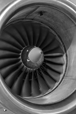Photograph - 757 Engine Black And White by Ricky Barnard