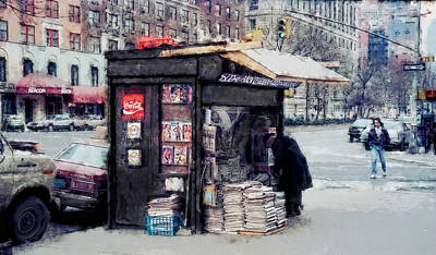 75th And Broadway Newsstand - New York Art Print by Daniel Hagerman