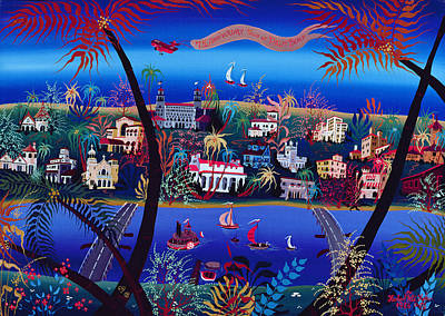 75th Anniversary Of Palm Beach, Florida Oil On Canvas Art Print by Herbert Hofer
