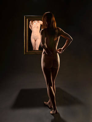 Photograph - 7693 Nude Standing In Front Of Mirror by Chris Maher