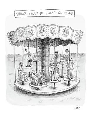 Carousel Drawing - New Yorker October 9th, 2006 by Roz Chast