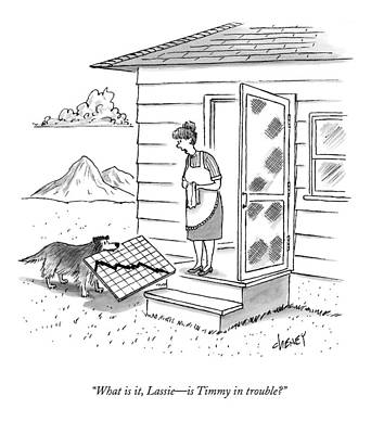 Teeth Drawing - What Is It, Lassie - Is Timmy In Trouble? by Tom Cheney