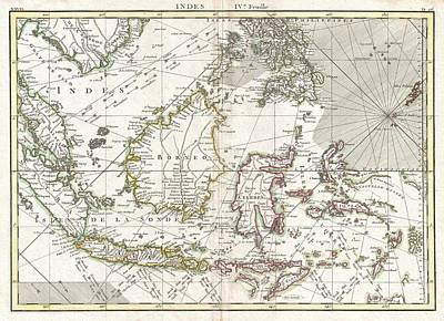 Guinee Photograph - 770 Bonne Map Of The East Indies Java Sumatra Borneo Singapore by Paul Fearn