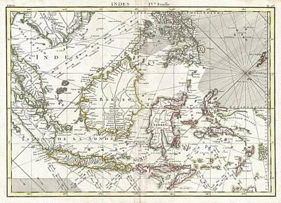 770 Bonne Map Of The East Indies Java Sumatra Borneo Singapore Art Print