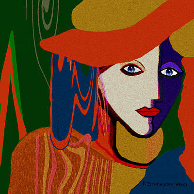 Painting - 772 - Lady Face Deco Orange Hat by Irmgard Schoendorf Welch