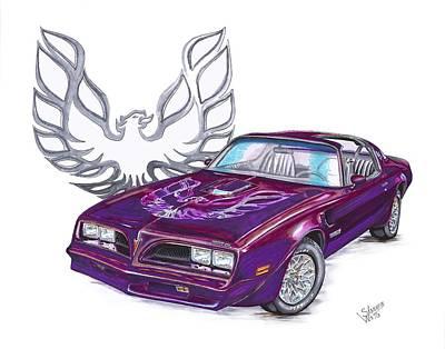 Pontiac Drawing - 78 Pontiac Firebird by Shannon Watts