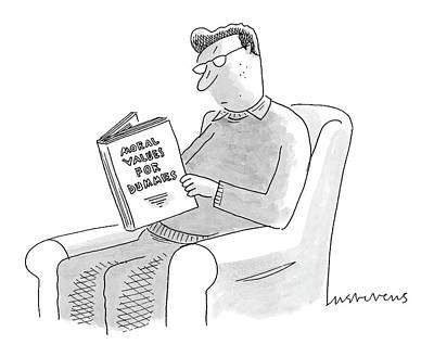 Man Sitting In A Chair Reading Drawing - New Yorker January 24th, 2005 by Mick Stevens