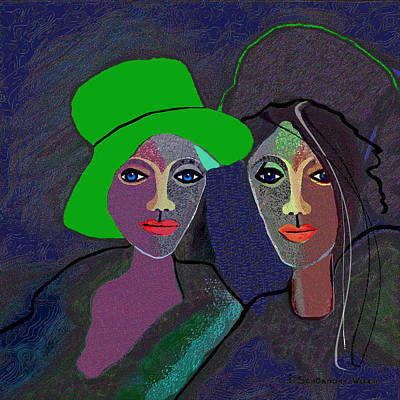 Lips Digital Art - 795 - Wearing A Green Hat by Irmgard Schoendorf Welch