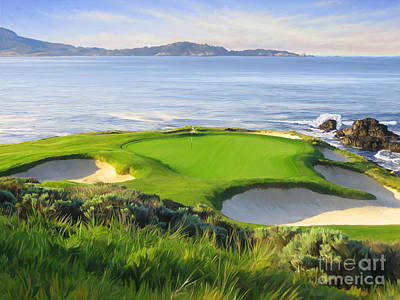 On The Beach Painting - 7th Hole At Pebble Beach by Tim Gilliland