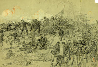Arty Drawing - 7th N.y. Heavy Arty. In Barlows Charge Nr by Quint Lox