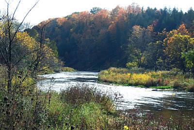 Photograph -    Canadian Fall Season Colors Oakville Ontario Lyon Ridge Trail River Stream Picknic Spot Bird Watc by Navin Joshi