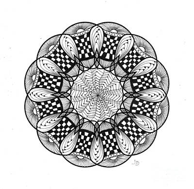 Abstract Forms Drawing - 8 - 12 Pt Symmetry by Jeaanne Donovan