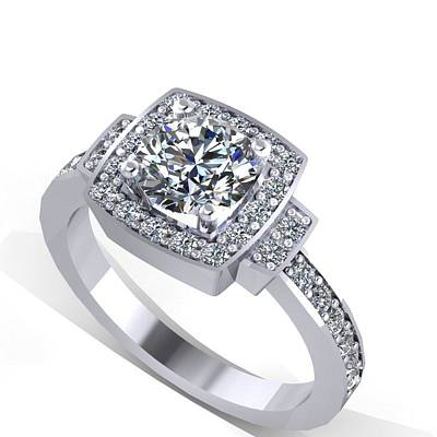 18k Jewelry - 14k White Gold Diamond Ring With Moissanite Center Stone by Eternity Collection