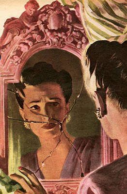 Mirror Drawing - 1940s Uk Womans Own Magazine Plate by The Advertising Archives