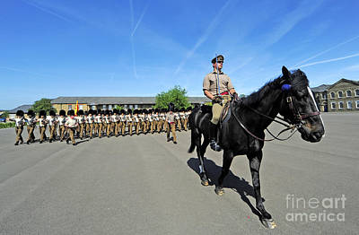 1st Battalion Welsh Guards On The Drill Print by Andrew Chittock