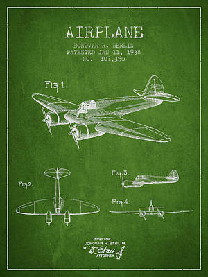 Transportation Digital Art - Airplane patent Drawing from 1938 by Aged Pixel