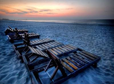 Digital Art - 8 Beach Chairs by Michael Thomas