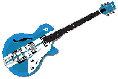 Trench Digital Art - 8 Bit Duesenberg Guitar Blue by Lesley DeHaan