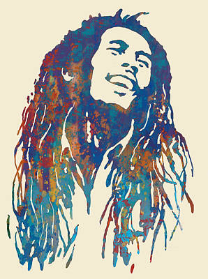 Bob Marley Stylised Pop Art Drawing Potrait Poser Drawing