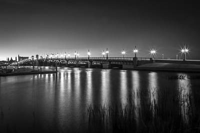 Lions Gate Bridge Photograph - Bridge Of Lions St Augustine Florida Painted Bw by Rich Franco