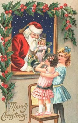 Santa Claus Painting - Christmas Card by English School