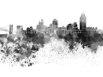 Cincinnati Painting - Cincinnati Skyline In Watercolor On White Background by Pablo Romero