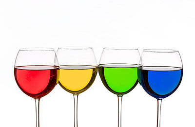 Colorful Wine Glasses Art Print