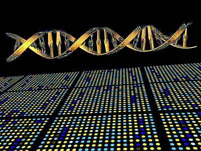 Heredity Photograph - Dna Microarray And Double Helix by Pasieka