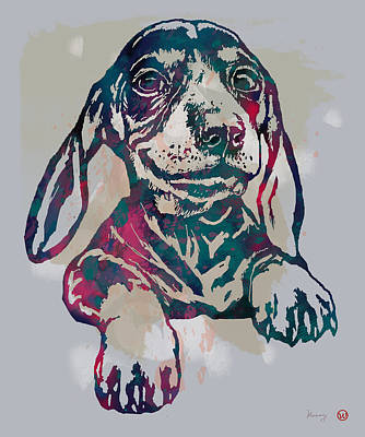 Abstract Drawing - Dog Stylised Pop Modern Etching Art Portrait by Kim Wang
