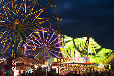Roaring Red - Evergreen State Fair with ferris wheel by Jim Corwin