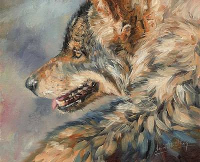 Pack Painting - Grey Wolf by David Stribbling