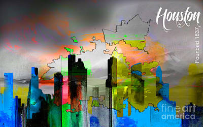 Map Mixed Media - Houston Map And Skyline Watercolor by Marvin Blaine