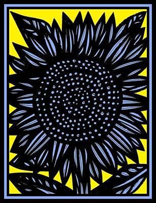 Contemporary Botanical Art Drawing - Chalice Sunflower Yellow Blue Black by Eddie Alfaro