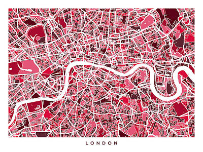 Abstract Digital Art - London England Street Map by Michael Tompsett