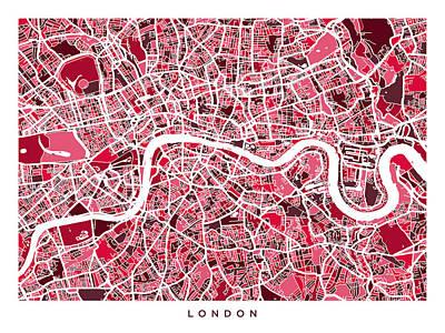 City Of London Digital Art - London England Street Map by Michael Tompsett