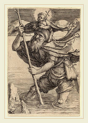 Saint Christopher Drawing - Lucas Van Leyden Netherlandish, 1489-1494-1533 by Litz Collection