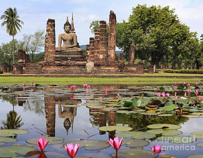 Main Buddha Statue In Sukhothai Historical Park Art Print